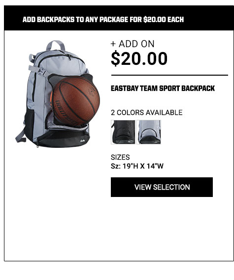 Add backpacks to any package for $20.00 each