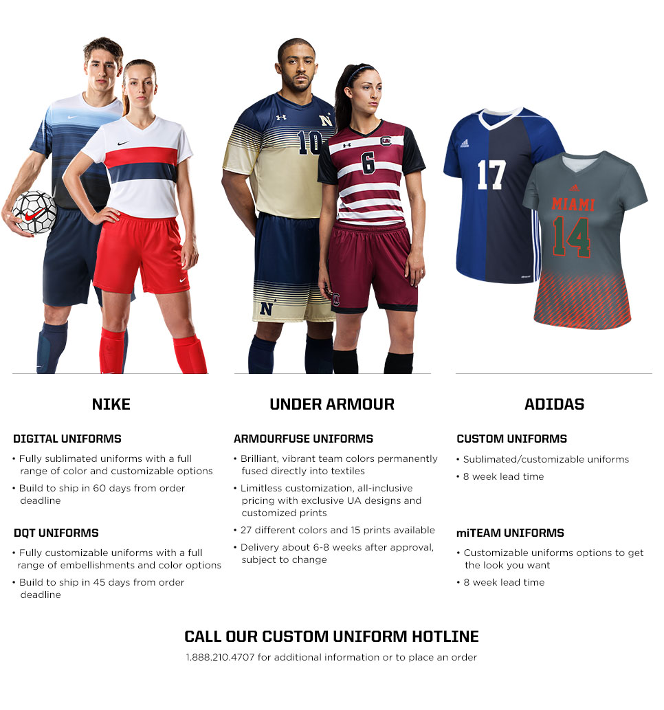 Call our custom uniform hotline 1.88.210.4707 for additional information or to place an order for soccer uniforms.