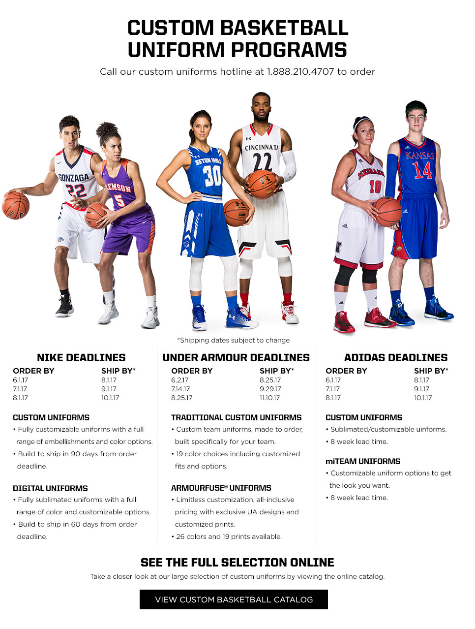 Custom Basketball Uniform Programs