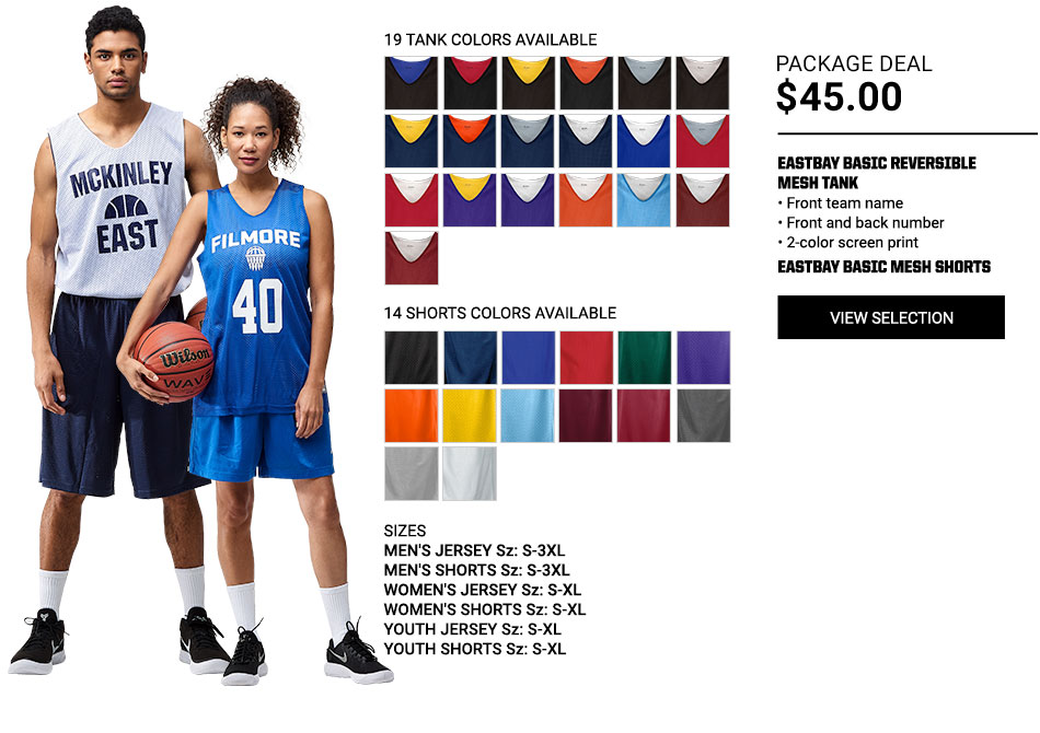 $45 Eastbay Basic Reversible Mesh Jersey Basketball Package Deal