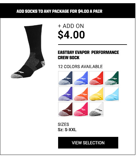 Add socks to any package for $4.00 a pair