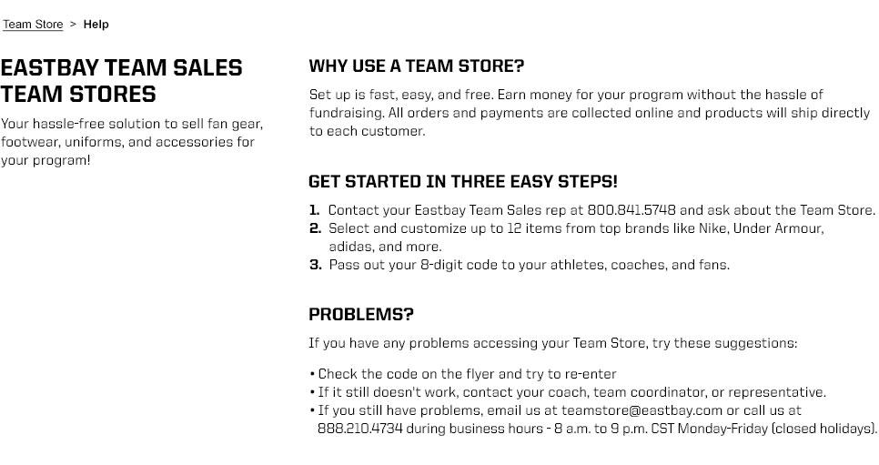 Team Store Help