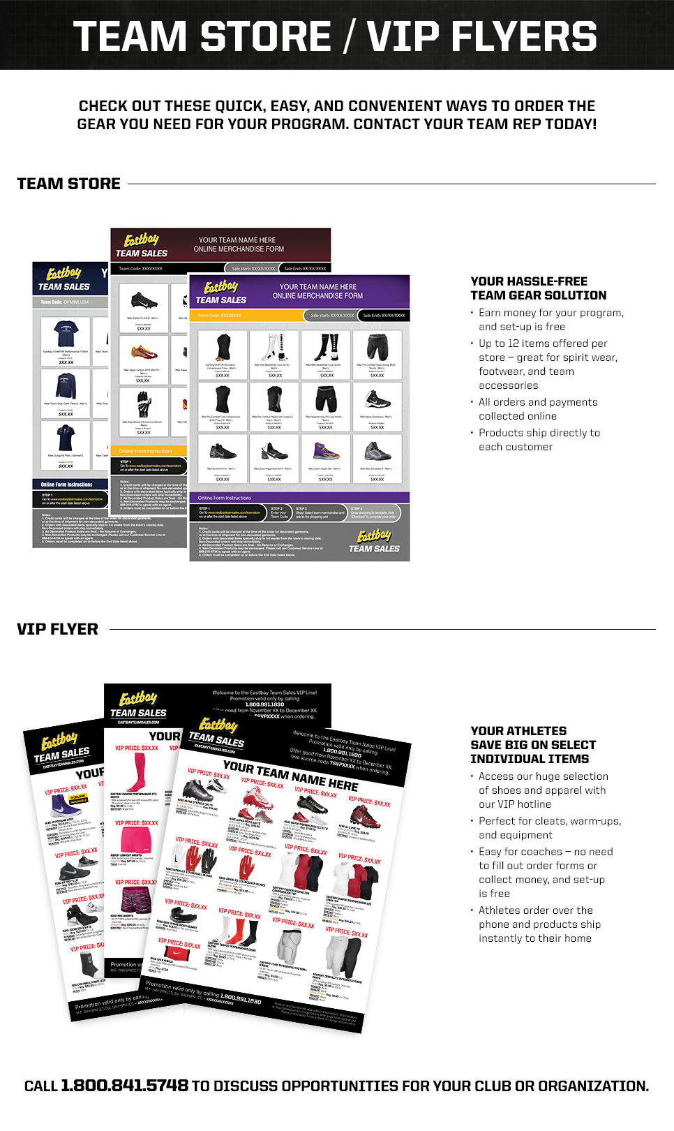 Eastbay Team Sales Store and VIP Flyer Information